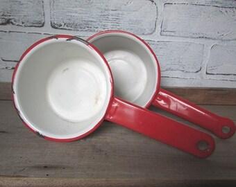 Enamel Saucepans White with Red Trim Rustic Farmhouse