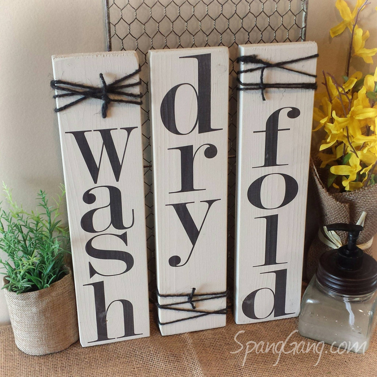 Laundry room decor signs set of 3 rustic pallet signs wood for Room decor signs