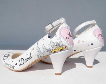 Wedding Shoes - Handpainted Customized - NewYork City Skyline