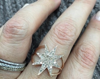 Diamond starburst rose or gold 14 karat and diamond star
