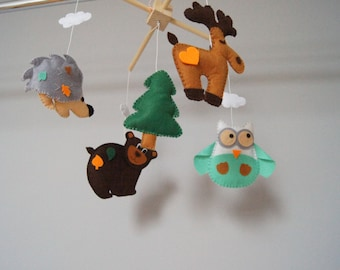 Baby Crib Mobile - Music Baby Mobile - Felt Mobile - Nursery mobile -  Forest - Forest mobile