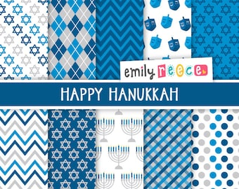 80% OFF SALE Hanukkah Menorah Dreidel Star of David Cute Digital Papers, Instant Download, Commercial Use