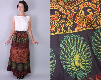 1970s Peacock wrap skirt | vintage 70s indian cotton maxi skirt with novelty print | small / medium