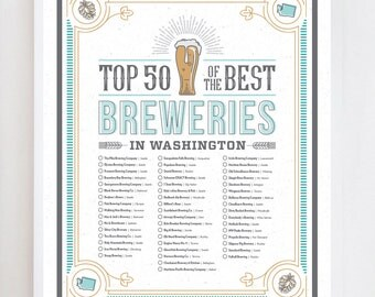 Washington Brewery Checklist | Wall Art Print Design