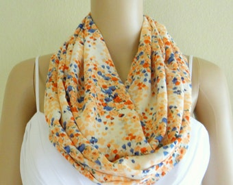 Flower Pattern Scarf. Floral Infinity Scarf. Flower Circle Scarf. Printed Chiffon Loop Scarf.