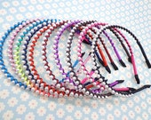 Mixed colors--10pcs 2mm rope and 6mmIvory white pearls plain 3mm metal headband