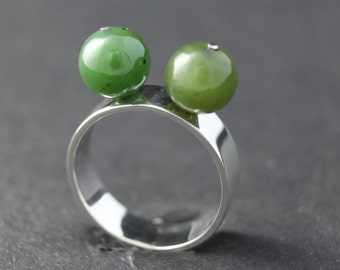 Sterling silver and aventurine ring