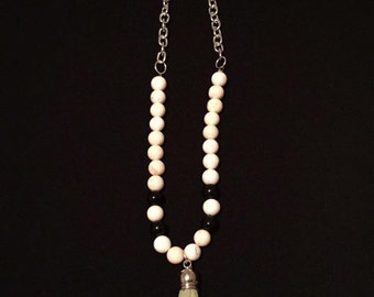 beaded & chain tassel necklace
