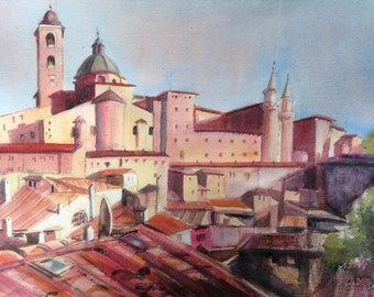 Urbino Original Watercolor, Le Marche Italy, Small Painting, Italian Art, Violet Yellow, Duke of Urbino, Ancient Walled Italian City Art