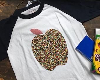 Apple a Day Teacher Attire Baseball TShirt ~ Ready to Ship ~ Medium