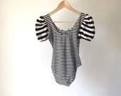 vintage TWIN PEAKS striped onesie black & white dance studio one piece petite