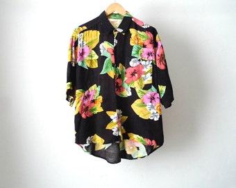 vintage SUNFLOWER grunge short sleeve SUMMER lightweight black & yellow short sleeve floral shirt 90s mid 90s vintage