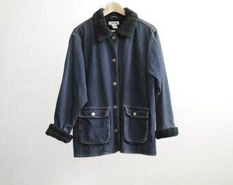 oxford JEAN JACKET with fur trim collar