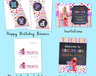 Elmo Sesame Street Birthday Party Package, Girl Elmo Birthday, Elmo Party Package, DIY Printables, Party Pack, Elmo and Abbey