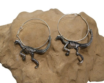 Prehistoric Paleontology Silver Dinosaur Skeleton Earrings
