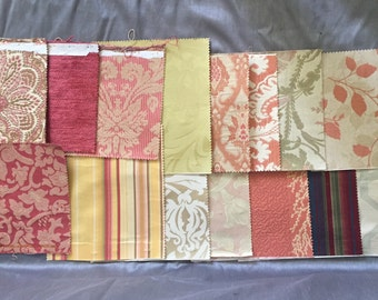 Lot of 15 Large Vintage Fabric Samples Decorator Upholstery Swatches for Crafting