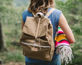 Beige cotton backpack PANDA / natural leather handles / perfect for picnic, walking and bicycle trips
