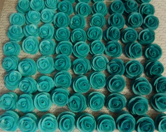 24  Teal Royal Icing Roses Edible For Cakes & Cupcakes