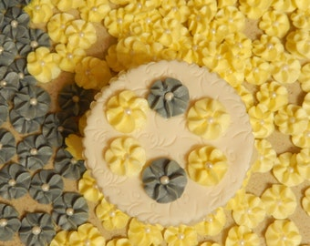 100  Yellow & Grey Royal Icing Drop Flowers Edible for cupcakes ,cakes, cookies, cakepops