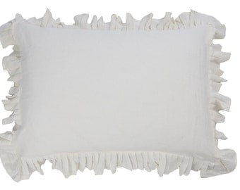 Ruffle pillowcases - Ruffled pillow case- Natural pillow cover - ruffled bedding - linen pillow case - linen bedding