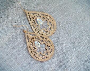 Gold Teardrop Earrings - Drop Earrings with Swarovski - Bohemian Dangle Earrings on Gold Filled - Modern Jewelry Drop Earrings
