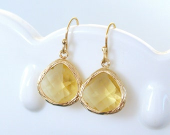 Citrine Yellow Earrings in Gold - Yellow Drop Earrings - November Birthstone Earrings - Gold Filled Earwire - Faceted - Yellow Bridesmaid