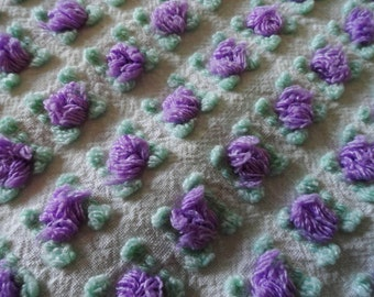 Lavender Purple Morgan Jones Rosebud Vintage Chenille Bedspread Fabric Piece...12 x 18""