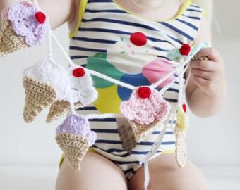 Ice Cream Cone Garland. Nursery Garland. Baby Bunting. Crochet Ice Cream Cones. Nursery Decor. Party Decor. Crib Decor. Baby Garland.