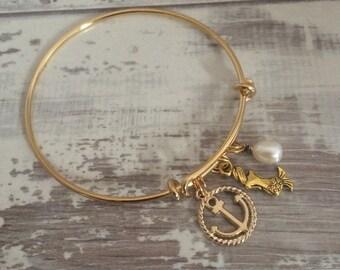 Nautical Bangle, Nautical Anchor Charm Gold plated Bangle, Anchor Bracelet, Gold anchor bangle, Mermaid bracelet, Charm Bracelet