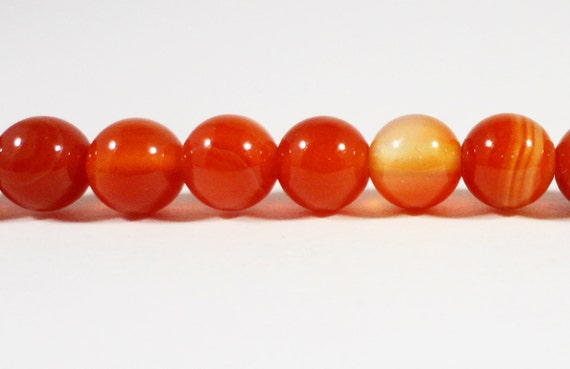 "Full Strand 6mm Carnelian Agate Beads, 6mm Round Carnelian Gemstone Beads, Striped Orange Agate Beads, Stone Beads, 15"" Strand with 62 Beads"