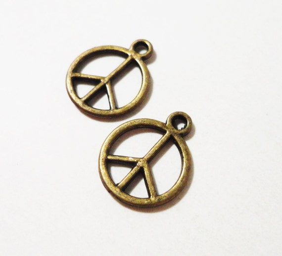 Peace Sign Charms 14x11mm Bronze Peace Charms, Antique Brass Peace Symbol Charm, Peace Sign Pendant, Metal Charms, Hippie Charms, 12pcs