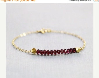 10% OFF SALE Garnet and Gold Bracelet - January Birthstone Bracelet - Garnet Bracelet