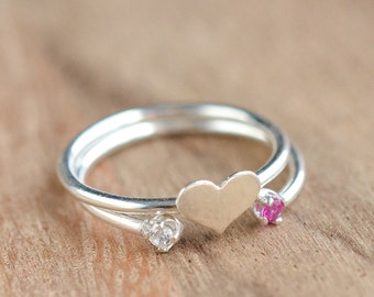 Sterling Silver Heart and Dual Stone Stacking Ring - Sterling Silver Stacking Ring Set - Heart Ring - Double Birthstone Ring - Mother's Day