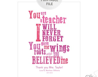 5x7 or 8x10 Personalized Teacher Appreciation PRINTABLE / End of Year Teacher Gift Ideas / Thank You / Pink / Digital File