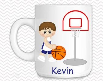 Basketball Boys Kids Mug - Personalized Basketball Mug - Customized Mug - Melamine Cup - Personalized Kids cup