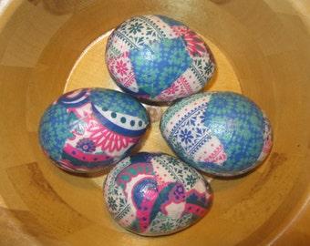 Boho Brights Decoupage Paper Mache Easter Eggs: Set of Four