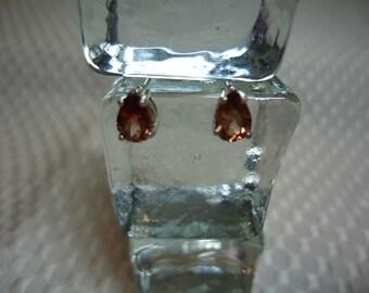 Pear Cut Orange ZIrcon Earrings in Sterling Silver  1797