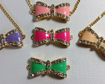 Retro - Art Deco Bow Necklace  - Rhinestone Bow  - Various Colors