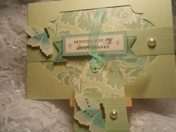 "Card- ""Sending You My Sincere Thanks"" - With Gift Tag - Handmade - Blank Inside"