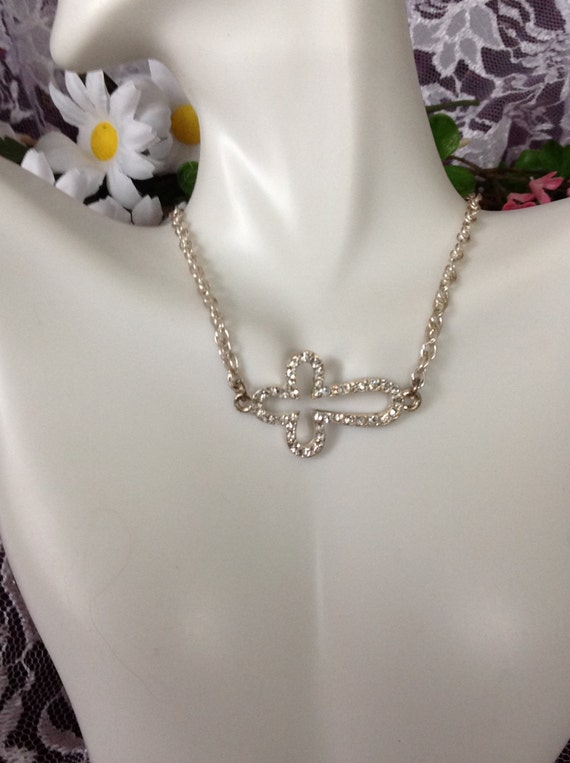 Cross- Sideways Rhinestone Silver Cross Necklace
