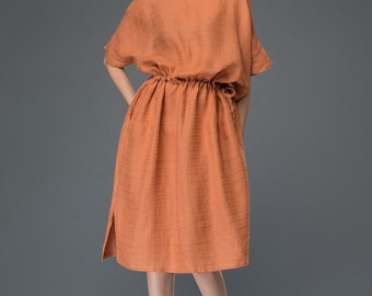 Casual Linen Dress – Burned Sienna Casual Cool Comfortable Everday Dress with Drawstring Waist Plus Size Clothing  C922