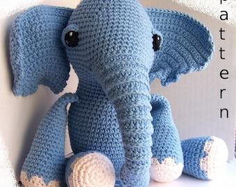 Crochet Pattern-Baby Elephant with tree log-Toy Elephant-Amigurumi Elephant-Crochet Toy-Stuffed Toy Animal-Stuffed Elephant-One piece toy