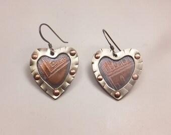 Rustic Heart Earrings