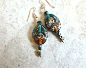 Dragonfly Floral Glass Earrings