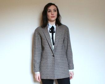 Vintage Ladies Tweed Blazer Boyfriend Fit Check Jacket
