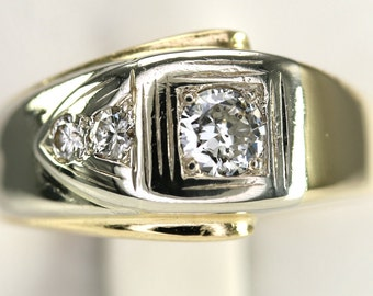 Big Gents Vintage Two-Tone White & Yellow Gold Diamond Buckle Style Ring Size 12.5
