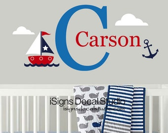 Nautical Wall Decal - Sailboat Decal - Nursery Wall Decals - Sailing Decal - Nautical Decor
