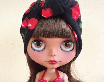 Cherry Jubilee knit blythe headband/headwrap