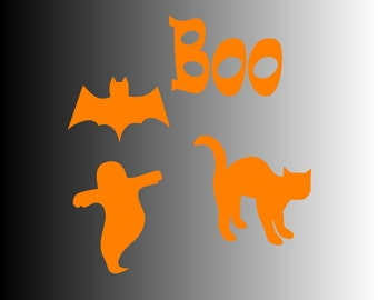 Boo Bat Cat Ghost Halloween SVG File Instant Download