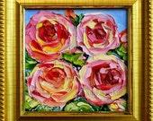 Pink Rose Oil Painting Small Original Mini FRAMED Art Flower Floral Textured Impasto Palette Knife Kitchen Bathroom Gift for Her 4x4
